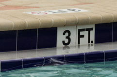 Swiming poool mark. Limit mark in the swiming pool Stock Images