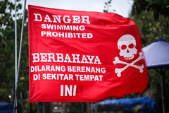 Swiming prohibited red flag Stock Photography