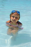 Swimmer. A girl that is cold in the water Royalty Free Stock Image