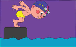 The swimmer. The vector illustration, the boy dives into water Royalty Free Stock Image