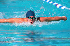Swimmer. Fierce swimmer in competition at a swim meet Royalty Free Stock Photos