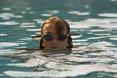 Swimmer 2. Picture of a girl who swims in a pool Royalty Free Stock Photos