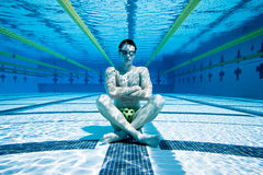 Swimmer. Under Water in Pool Royalty Free Stock Photos