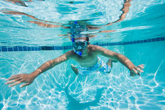 Swimmer. Under Water in Pool Stock Photography