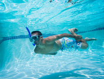 Swimmer. Under Water in Pool Stock Images