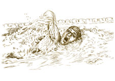Swimmer. Crawl, freestyle - Hand drawing picture converted into Stock Photography