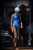 Swimmer. Young girl's waiting to swim her heat at a swim meet Stock Photos