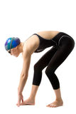 Swimmer. Girl swimmer in swimsuit is ready for a start Royalty Free Stock Photo