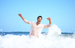 Swimmer. Having fun while swimming and diving in the sea royalty free stock photography