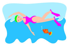 Swimmer. Illustration depicting a swimmer in water, engaged in her sport Royalty Free Stock Image