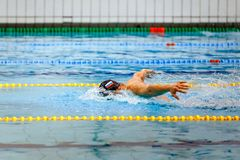 Swimmer athlete swim butterfly stroke. On cap swimming flag of Russia royalty free stock image
