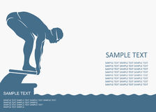 Swimmer background. Vector illustration of swimmer on starting block Royalty Free Illustration