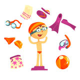 Swimmer and beach accessories set for label design. Sports equipment for swimming, diving. Cartoon detailed Stock Image