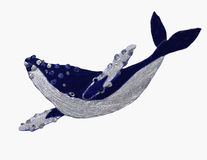 Swimmer. A big white and blue whale Stock Illustration