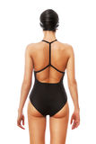Swimmer in black from back. On white background Stock Image