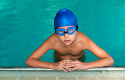 Swimmer boy. Ready for a lesson Royalty Free Stock Photos