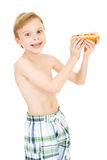 Swimmer: Boy Hungry for Hot Dog Stock Photo