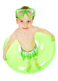 Swimmer: Boy Ready to Swim with Mask and Tube. Young Caucasian boy in swimsuit, isolated on white Royalty Free Stock Photography