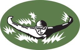 Swimmer Butterfly Stroke Swimming Woodcut Stock Image
