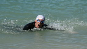 Swimmer coming to the end of the route in a competition swimming in a lake. Triathletes swimming in a swamp stock video footage