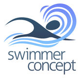 Swimmer concept. An illustration of an abstract swimmer swimming through waves concept design Stock Images