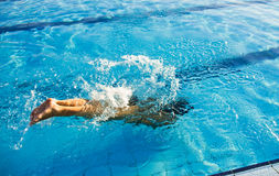 Swimmer dive. Into blue pool Stock Image