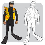Swimmer or diver. Vector illustration of a diver or swimmer in a swimwear in color and in line drawing Stock Photo