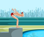 Swimmer diving into pool. Cartoon style swimmer diving into pool in vector Stock Image