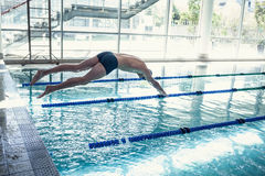 Swimmer diving into the pool at leisure center Stock Photos