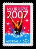 Swimmer, FINA World Swimming Championships serie, circa 2007. MOSCOW, RUSSIA - OCTOBER 3, 2017: A stamp printed in Australia shows Swimmer, FINA World Swimming Stock Images