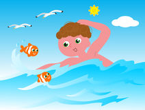 Swimmer with fishes vector Stock Image