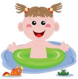 Swimmer funny girl. Stock Photo