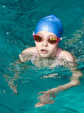 Swimmer girl finishing Royalty Free Stock Images
