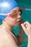 Swimmer girl portrait Stock Photos