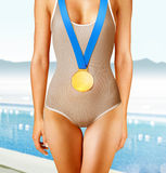 Swimmer with gold medal Royalty Free Stock Photography