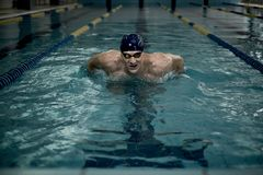 Swimmer with heart rate monitor Stock Photo