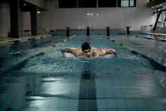 Swimmer with heart rate monitor Stock Photos