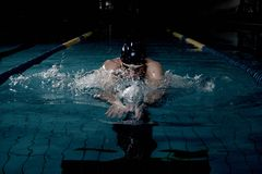 Swimmer with heart rate monitor Royalty Free Stock Image