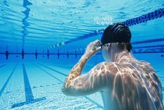 Swimmer Holding Breathe Underwater Stock Photography