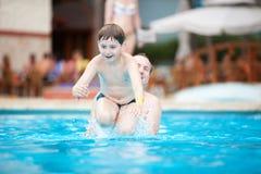 Swimmer jumping Stock Photo