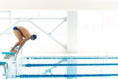 Swimmer jumping from starting block i Royalty Free Stock Image