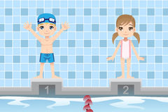 Swimmer kids. A vector illustration of a boy and a girl swimmer in a swimming competition Stock Image