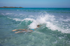 Swimmer in Mediterranean sea. Stock Image