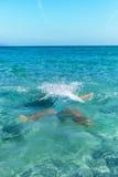Swimmer in Mediterranean sea. Stock Photography