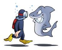 Swimmer meet shark on isolated white Stock Photo