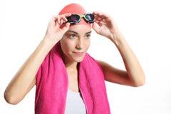 Swimmer in orange bonnet royalty free stock photos