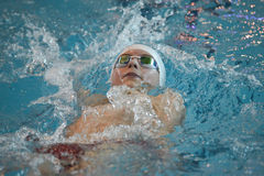 Swimmer is participating in the competition Stock Image