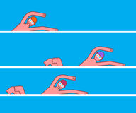 Swimmer in pool competition. Athlete swims in water tournament stock illustration