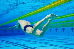 Swimmer in Pool Underwater Royalty Free Stock Photo