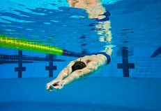 Swimmer in Pool Underwater Royalty Free Stock Image
